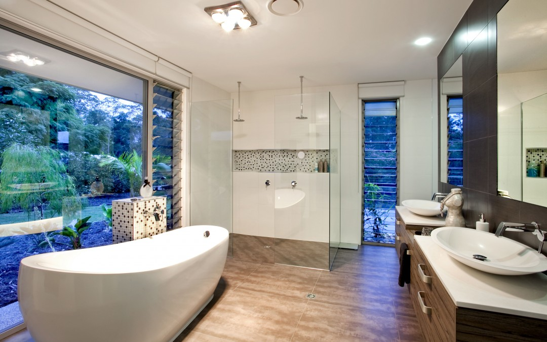 Breezway glass louvres in the bathroom