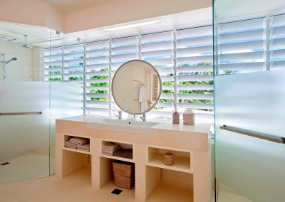 Altair Louvres in the bathroom allow steam to escape quickly and removing moisture.