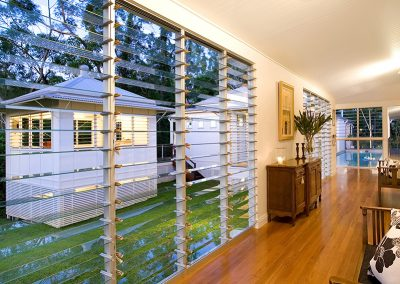Multiple bays of Altair Louvres can be installed inside the home to cool and refresh the environment.