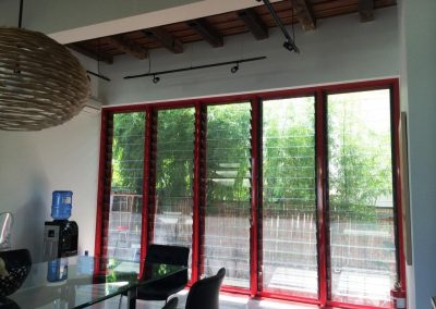 Wall of Breezway Louvres in bungalow
