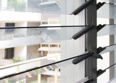 Close up of louvres with no uninterrupted views from bars