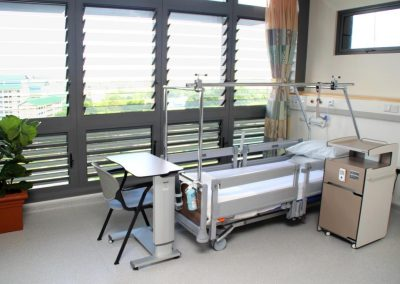 Louvres open to provide ventilation to patients in hospital beds