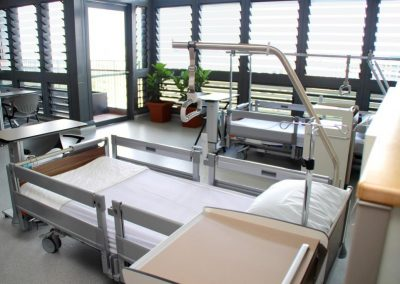 Louvres provide views from hospital beds