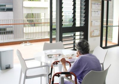 Patients enjoy a view out through louvres