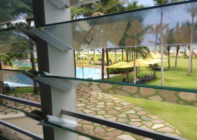 pool side views through breezway louvre windows