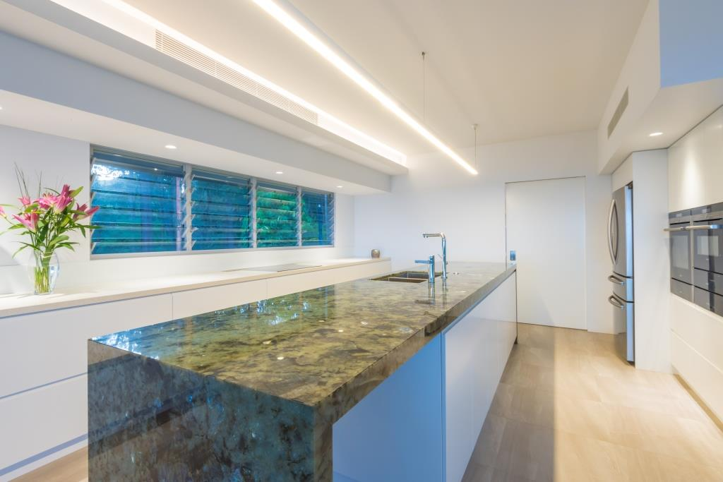 Close up of Breezway louvres in kitchen