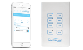 <strong>Powerlouvre</strong><p>Powerlouvres can be operated by the Apptivate Control Unit or Powerlouvre App.</p>