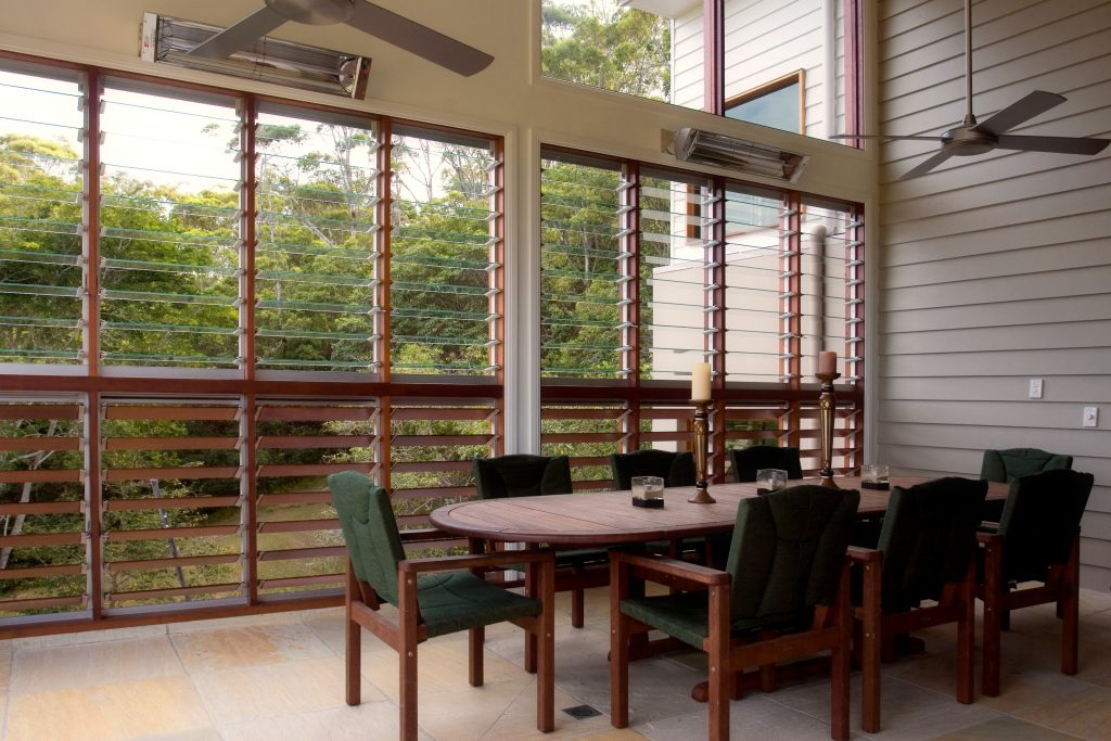 Breezway louvres in outdoor rooms provide ventilation and privacy