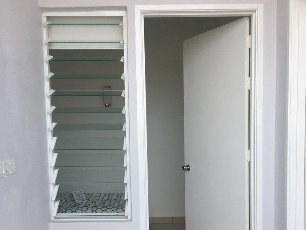 Breezway louvres next to doors provide ventilation even when the door is closed