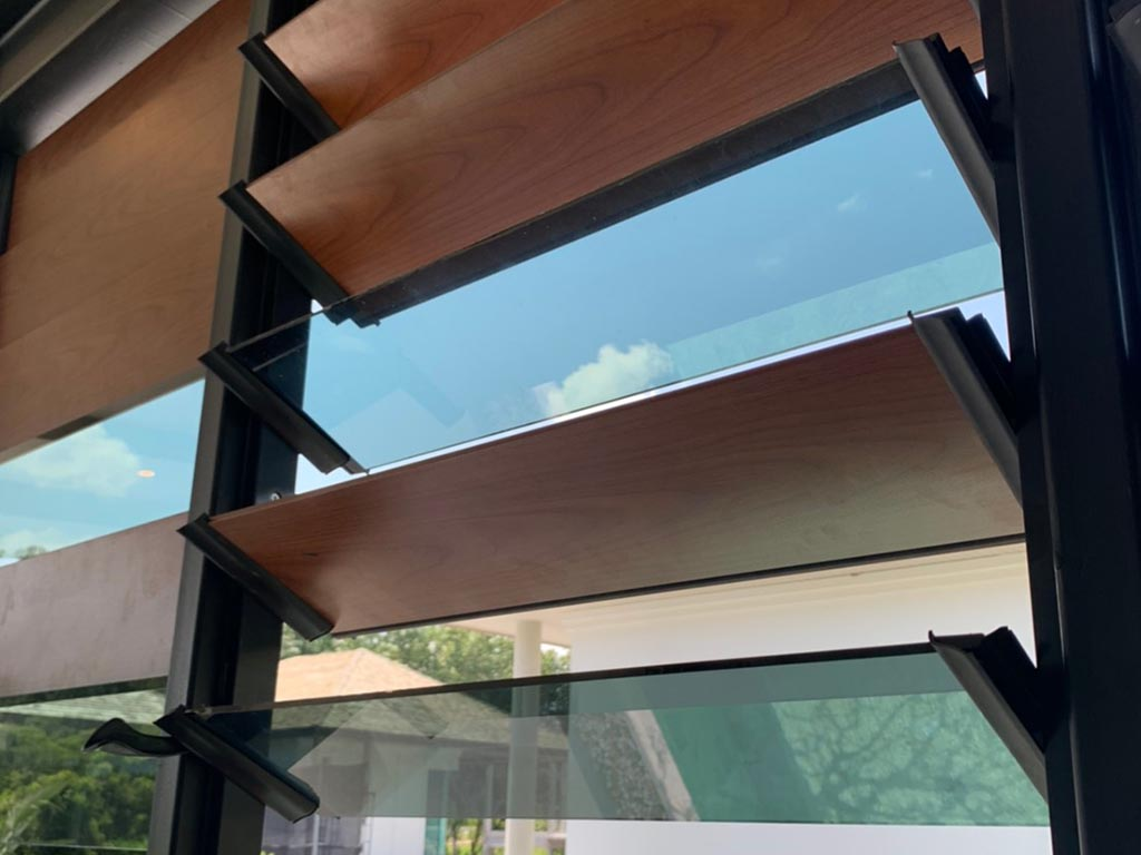 Close up of Breezway Louvres with obscure and glass blades